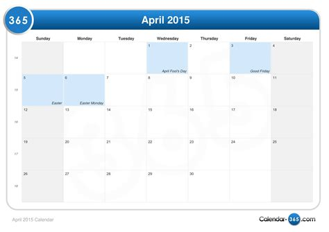 Calendar When Is Easter 2015 Easter 2015