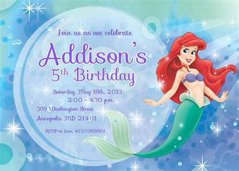 Printable Birthday Invitations Ariel | 9 best images of free mermaid printable invitation