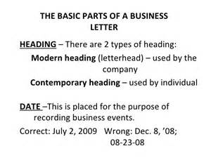 Business Letter Sample With Optional Parts Basic And Miscellaneous Parts Of Business Letter