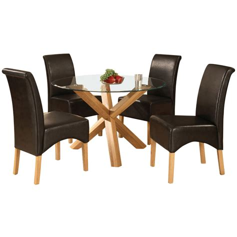 Dining Table Leather Chairs Solid Oak Glass Dining Table And 4 Leather Chair Set Brown