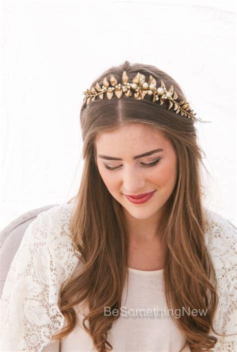 hairstyles with pearl headband leaf headband golden leaf and chagne pearl headband