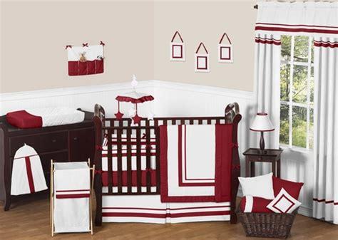 White And Red Modern Hotel Baby Bedding 9pc Crib Set By Hotel Baby Crib