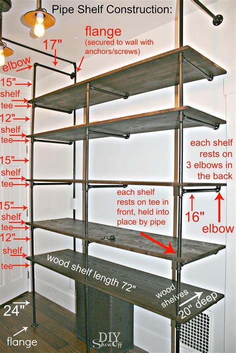 diy pipe shelf construction     perfect