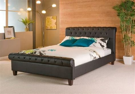 headboards phoenix phoenix black sleigh faux leather bed frame leather bed