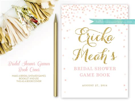 Page Shower by Pink And Gold Bridal Shower Book Cover For Bridal