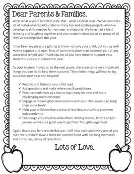EDITABLE End of Year Letter for Parents (Color & Black