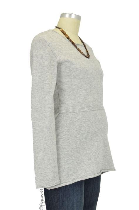 Rn Sweater Mismis Fit L designs merino wool nursing sweater in grey melange