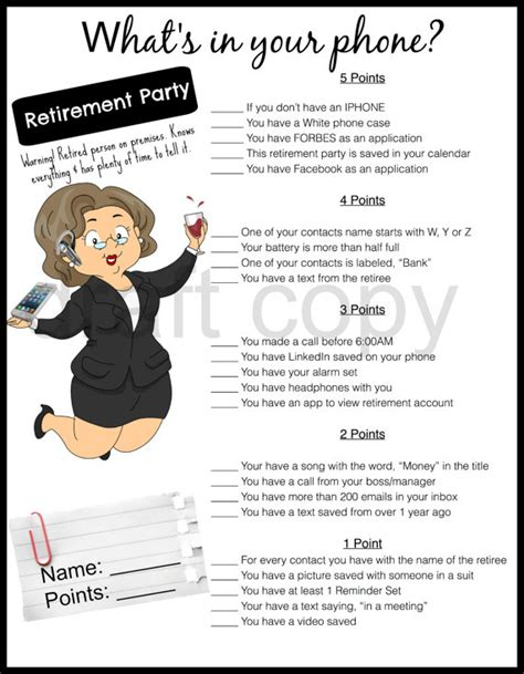 printable retirement games retirement party game whats in your phone