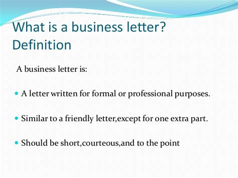 Different Parts Of Business Letter And Definition business letters and different styles