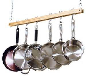 cooks standard ceiling mount wooden pot rack single bar