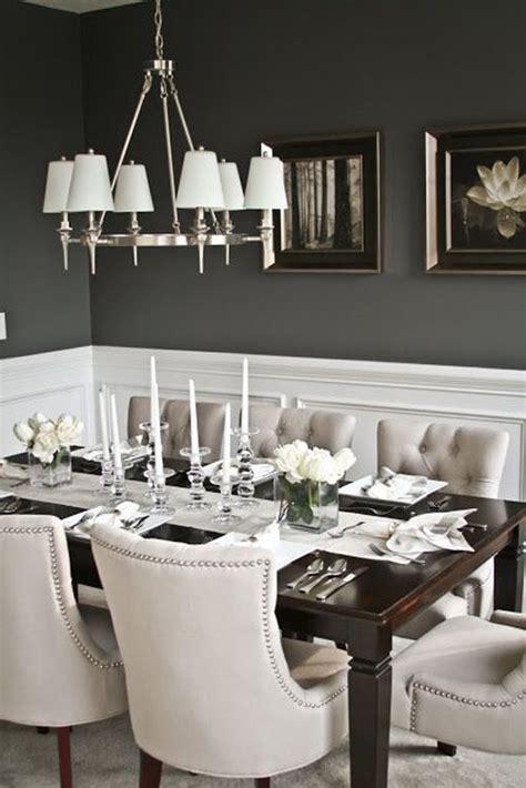 Gray Dining Room With Chair Rail серый цвет стен серые обои в интерьере фото и варианты