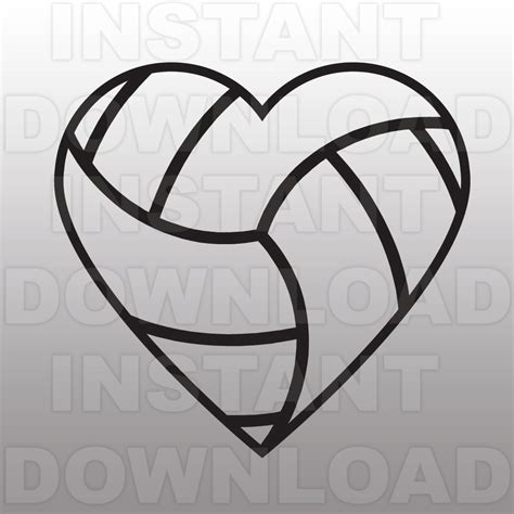 volleyball heart svg file cutting template clip art for