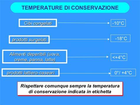 temperature di conservazione alimenti alimenti