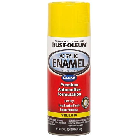 acrylic spray paint yellow rust oleum automotive 12 oz yellow gloss acrylic enamel