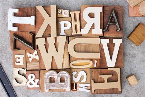 wooden block letters diy wall art letterpress print blocks 4 make do crew 1723