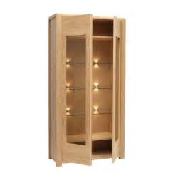 furniture oak wood display cabinet with two glass door
