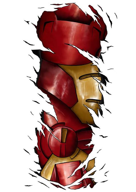 iron man tattoos iron rip through by p o w deviantart on