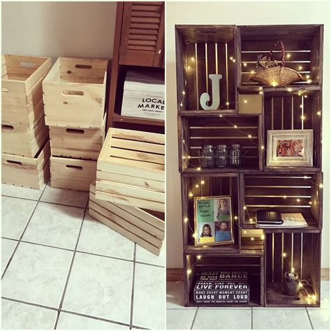 Wooden Crate Bookshelf Decor Therapy Pinterest Crate Wood Crate Shelves