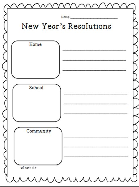 new year for elementary students resolutions teach123