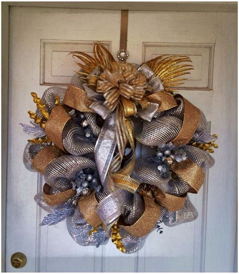 new year wreath new years mesh wreath holidays