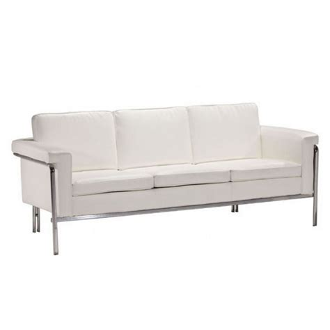 zuo sofa zuo singular modern faux leather sofa in white 900167
