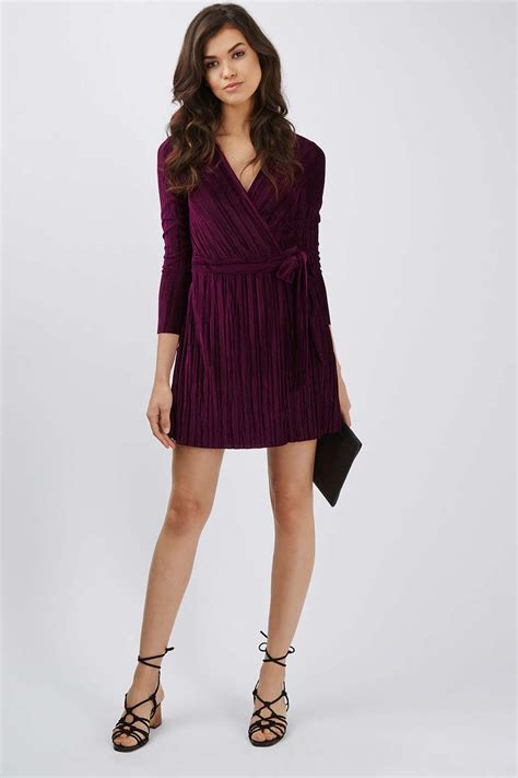 Wrap Dress - pleated velvet wrap dress topshop