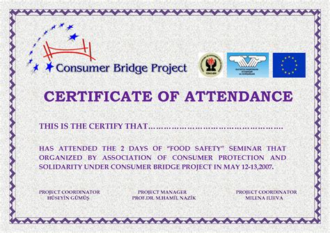 templates for certificates of attendance of a course attendance certificates free templates mughals