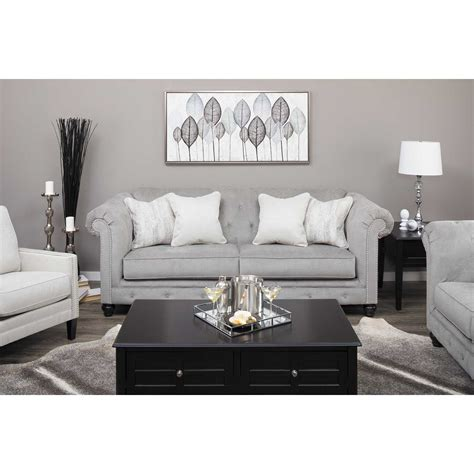 And Loveseat by Tiarella Silver Tufted Loveseat 7290135