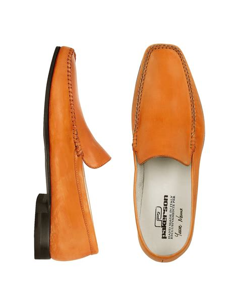 Italian Handmade - pakerson orange italian handmade leather loafer shoes in