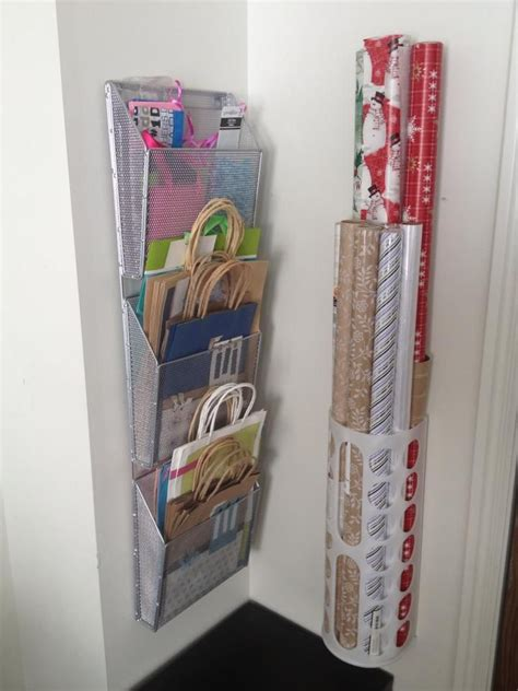 storage for gift wrapping paper gift bag storage inside closet door let s get organized
