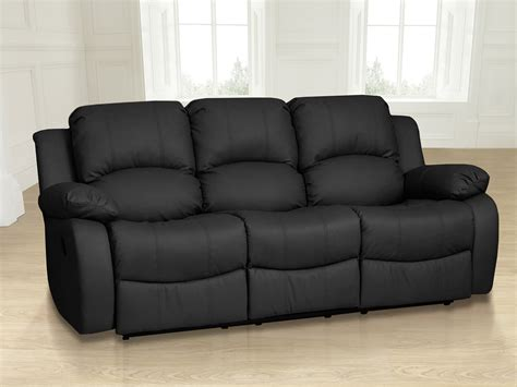 Black Leather Electric Recliner Sofa by Luxury Electric Valencia 3 Seater Top Grain Leather