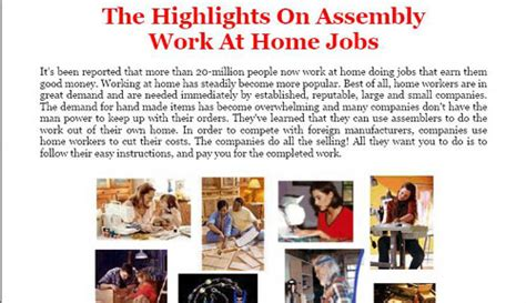 work at home assembly free education other