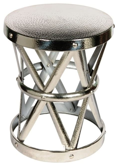 Drum Stool Table by Hammered Drum Cross Table Stool Nickel Medium Silver Industrial Side Tables And End