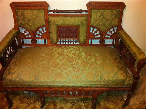 ori furniture cost antique loveseat settee nice wood trim detail for sale
