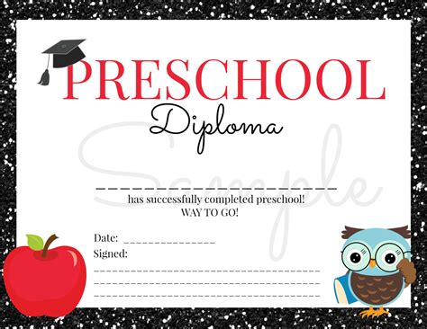 instant preschool graduation diploma for boy