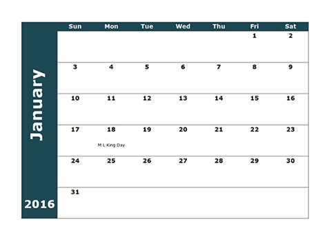 2016 monthly calendar template 18 free printable templates