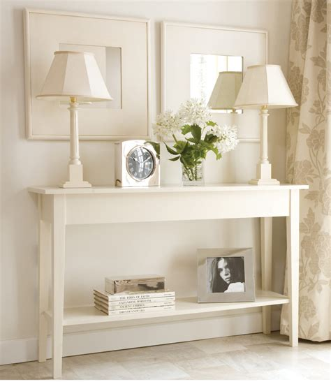 table home decor console table decor ideas featuring white wooden frames and rectangle top shelf small console