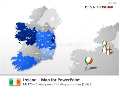 us area code from ireland powerpoint map ireland with zip 2 digits presentationload
