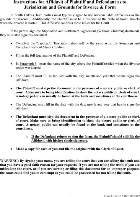 divorce affidavit template south dakota affidavit of plaintiff and defendant