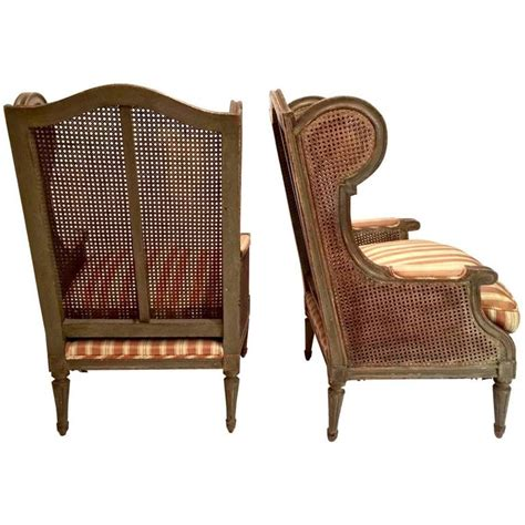 french wingback chair pair of early 20th century french caned wingback chairs at