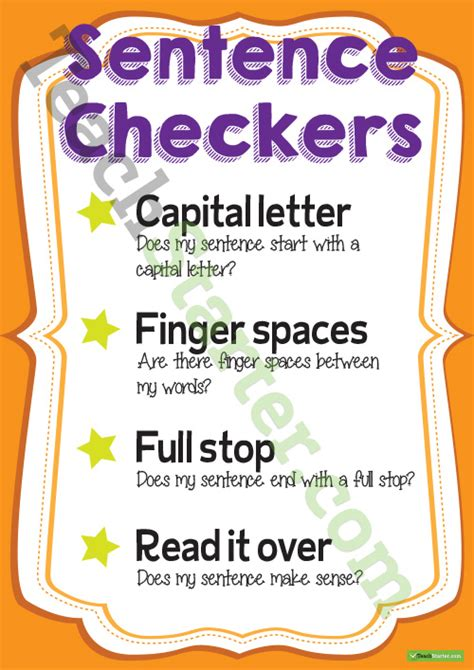 sentence checkers poster  checklist teaching resource