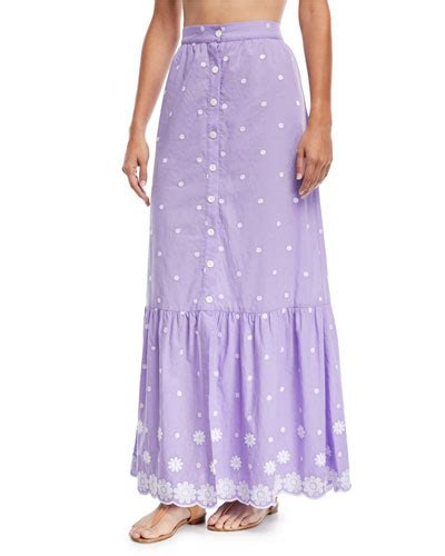 Embroidered A Line Maxi Skirt maxi skirt neiman