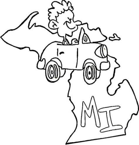 michigan state flag coloring page coloring pages