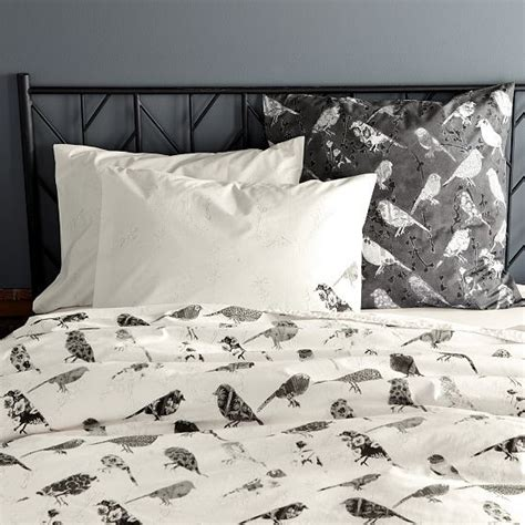 west elm comforter set organic bird collage duvet cover shams contemporary
