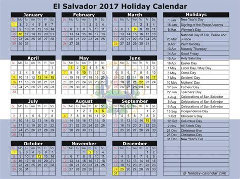 El Calendar El Salvador 2017 2018 Calendar