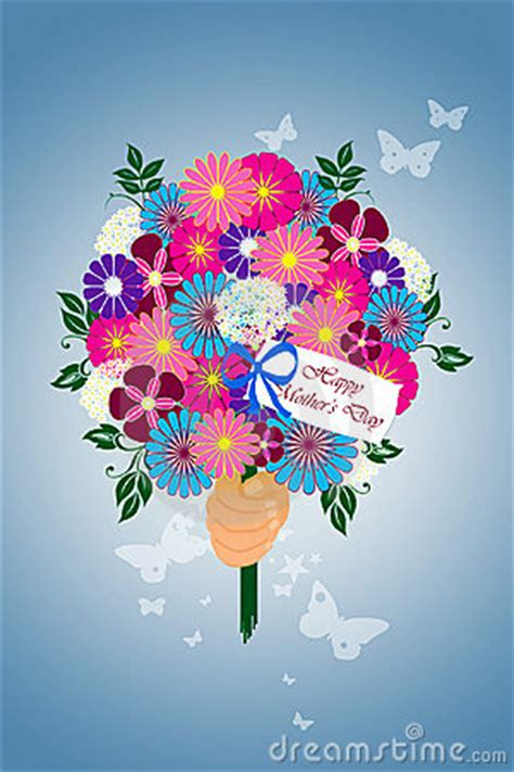 happy mothers day flower bouquet illustration stock photo image