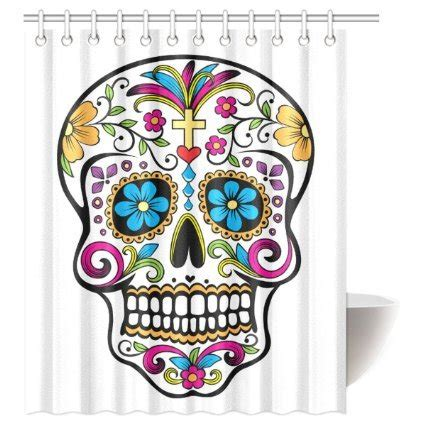 dia de los muertos shower curtain best sugar skull shower curtain