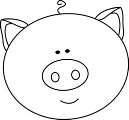 black and white pig face clip art black and white pig