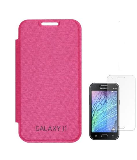 Samsung Galaxy Flip Cover J1 Pink utility flip cover for samsung galaxy j1 with screen guard