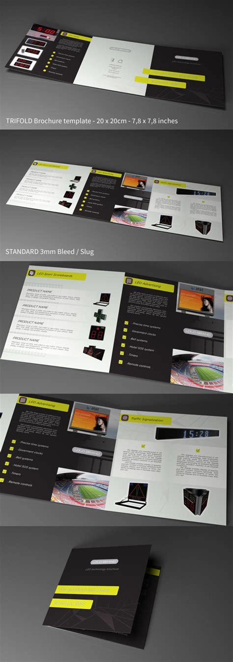 tri fold brochure template indesign cs6 free indesign template trifold square led tech on behance